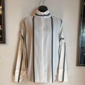 Tibi Warren striped shirting funnel neck top
